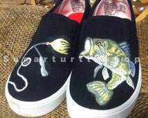 Unique large mouth bass related items etsy for Bass fishing shoes