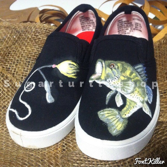 Items similar to sale boys large mouthed bass fish shoes for Bass fishing shoes