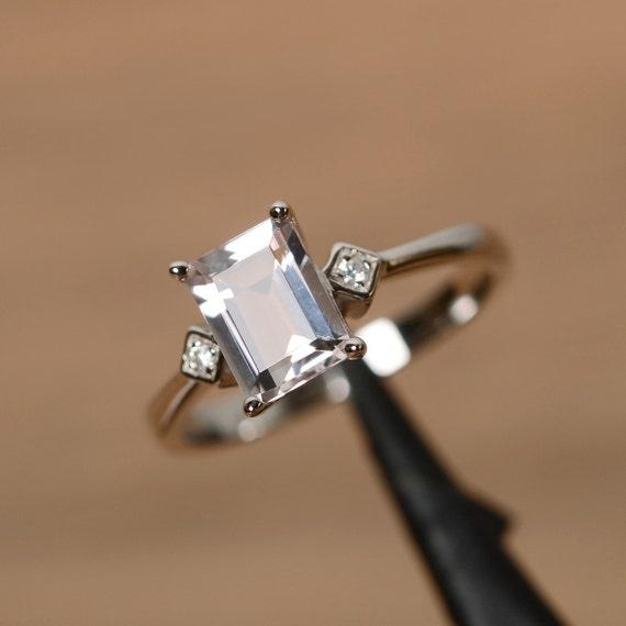 pink morganite ring emerald cut morganite engagement ring