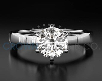 Diamond Engagement Ring Solitaire H VVS2 Round Brilliant Cut Diamond 14K White Gold Ring For Women