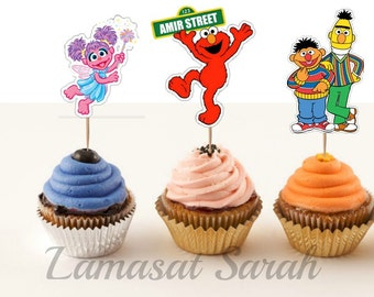 Sesame street cupcake toppers( 6 characters)