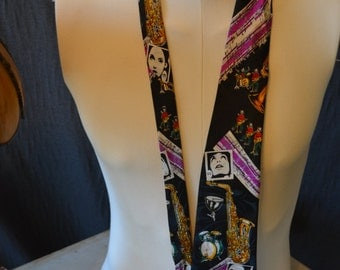 Vintage Dimoda JAZZ Music Full Length Necktie