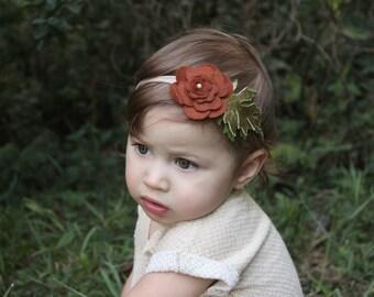 Felt Flower Headband - Felt Flower - Felt Flower Garland Headband -Felt Flower Crown - Newborn Headband - Toddler Headband -Photo Prop