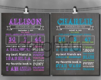 Personalized First Day of School Poster / Two Color Options: Blue/Green and Pink/Purple - Digital File