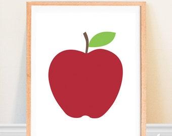 Apple Art Print - Kitchen Fruit Print - Scandinavian Design - Minimalist Fruit - Mid Century Modern Kitchen Decor