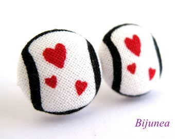 Heart stud earrings - Heart post earrings - Red Heart studs - Heart posts - Heart earrings sf995