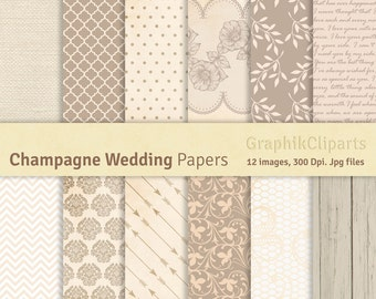 Champagne Wedding Digital Papers. Champagne Papers, Wedding Backgrounds. 12 images, 300 Dpi. Jpg files. Instant Download.