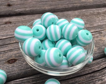 FREE SHIPPING 25- 10ct Mint Green White Stripe 20mm Acrylic Beads, Mint Green Beads, Mint Green 20mm Beads, Bead Supplies, Chunky Necklace