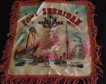 Vintage Military Souvenir Pillow Cover Fort Sheridan Illinois for Mother