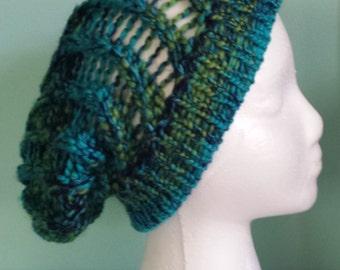 Handmade Knitted Sag Blue and Green Beanie