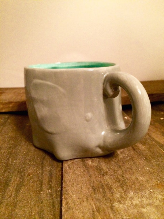 Elephant Mug Ceramic Cup Elephant Coffee Mug By Ceramicrevival