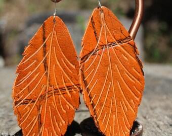 Pumpkin Leather Feather Earrings