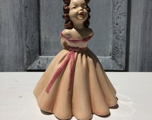 Pink Lady Ceramic Figurine Brown Hair Blue Eyes Southern Belle Pink Dress Black Hat Japanese Girl Scarlett O'hara Young Lady Figurine