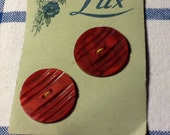 2 French Vintage large ridged buttons by Lux.