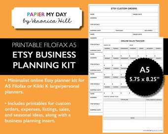 A5 Etsy Planner Kit - Printable Etsy Planning Inserts for Filofax A5 and Kikki K Large Planners