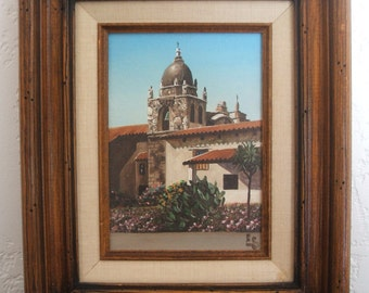 Oil Painting of the Mission San Carlos Borroméo del río Carmelo (Carmel Mission) by Eugene Schmidt