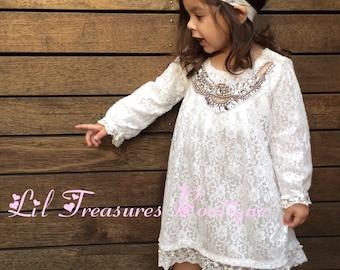 Vintage Style Crystal Neckline Lace Dress. Girls White Lace Dress. Flower Girl Dress. Christening Dress. Bling Neckline.