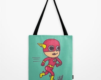 the flash, comic book, comic art, superhero, tote Bag, gift for her, school bag, book bag, tote, gift, nappy bag for dad, diaper bag, gift f