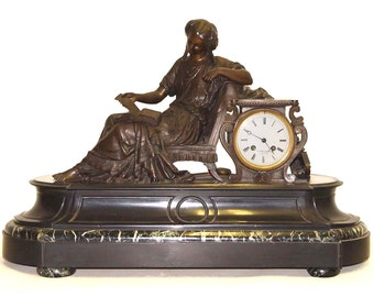 19th Century French Bronze Mantle Clock  Reclining Female by Demay and Bovier