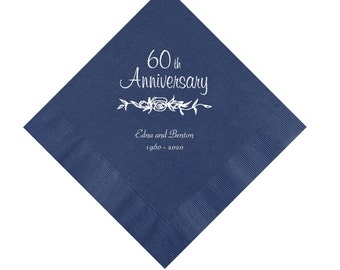 Rose 60th Wedding Anniversary Napkins Personalized Set of 100 Napkins Anniversary Party Supplies
