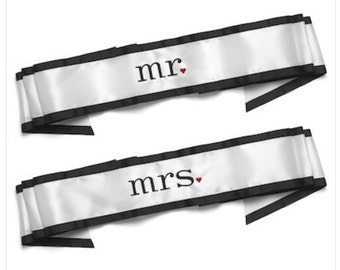 Mr. and Mrs. Wedding Chair Sashes Wedding Decorations