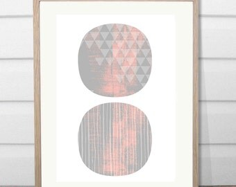 A3 Moving mountains wall print Grey-Pink