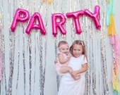 PARTY letter balloons - pink foil mylar letters - with or without tassels
