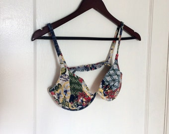 1980's Floral Underwire Swimsuit