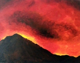 Eruption - two original paintings - acrylic on canvas
