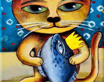 """Orginal Painting """"Cat with Fish"""" by LordFoxel (Stretched)"""