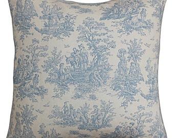 Zipper Closer Premier Prints Jamestown Toile Baby Blue White Pillow Cover Decorative Throw Pillow 12x16,16x16, 18x18, 20x20, 24x24