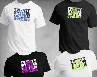 Cycling Spiritwear T-Shirt-24/7 Cycling-Twenty Four Seven XS to 6-XL Custom Color Choices