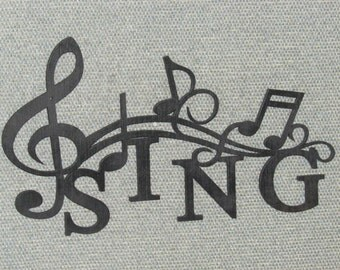 SING with Music Notes Wall Art Decor Laser Cut wood