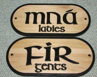 Men Women Gents Ladies Fir Mna Restroom Bathroom Signs Irish