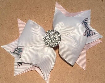 Pink & White Hair Bow - 4.5 inch Stacked Boutique Bow w Foil Ribbon on Partially Lined Clip - Ballet - Prom - Just Clip it on and go!  Bling