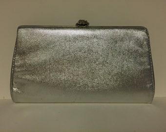 Silver purse w/rose clutch