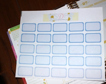 Blue/Purple Ombre Half boxes! Set of 25 Planner Stickers (043)