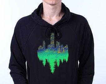 Skyline New York City Skyscraper Forest Reflection Artistic Sweatshirt Hoodie Jumper