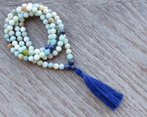 Beautiful Frosted Amazonite Mala Necklace - Tibetan Buddhist Mala - Meditation Necklace - Heart Chakra