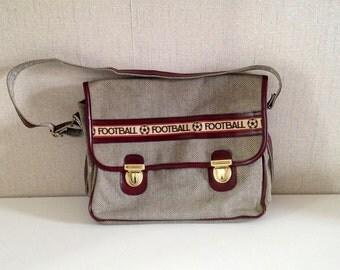 Vintage schoolbag satchel - Hobo bag Football