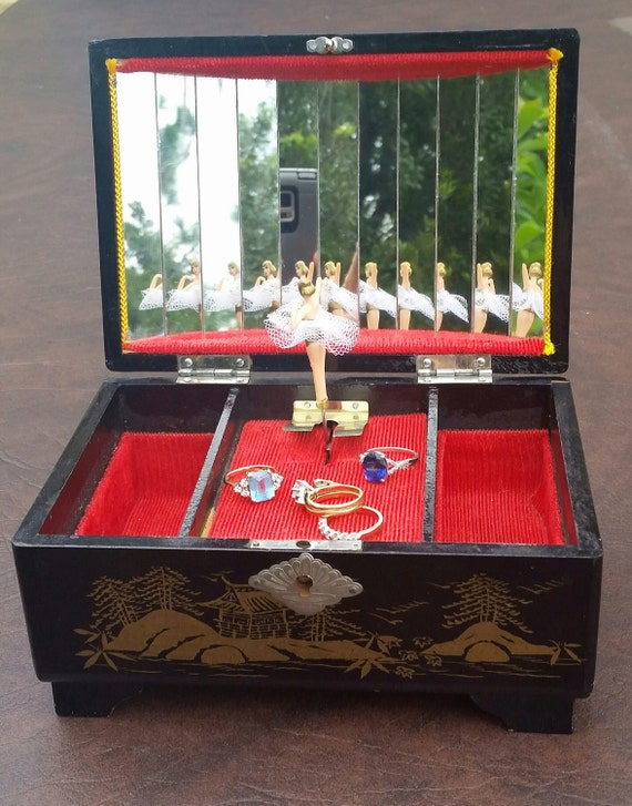 Musical Dancing Ballerina Jewelry Box Vintage Japanese Black