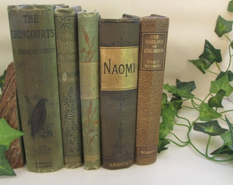 Set of Antique 19th C Woodland Tones Decorative Books - Instant Library - Old Book Collection