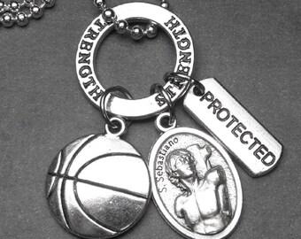 BASKETBALL Athletes Patron St. Sebastian Catholic Holy Medal & Charm Necklace or Key Chain, Keychain, Catholic Gift, Catholic Jewelry