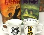 Hufflepuff House Color Tie & Hogwarts School Crest Harry Potter Coffee Mug