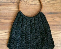 Vintage Black Macrame Handbag - 70's Knit Purse with Large Round Handles - Boho Hippie Chic Large Purse