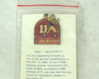 Unocal 76 Collector PIN # 1 'Jim Everett' Lapel Pin with Backer Card © 1989
