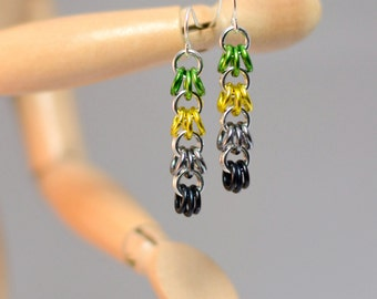 Aromantic Pride Dangle Chainmaille Earrings