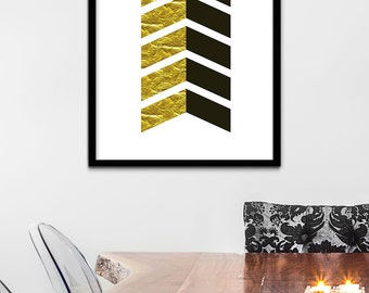 Black And Gold Wall Art gold chevron | etsy