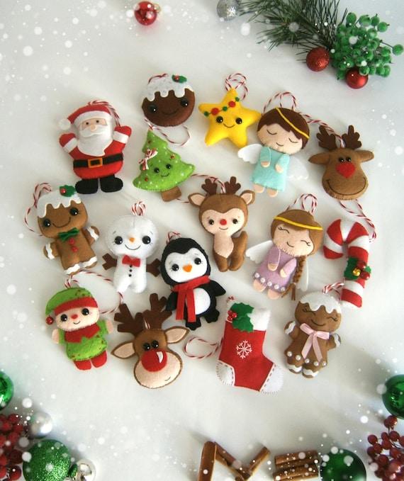 Christmas ornaments felt SET of 16 ornament Christmas felt Decor Big set cute Christmas tree ornaments Reindeer felt Gingerbread Santa