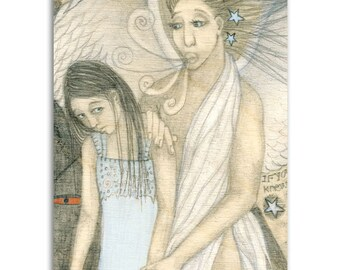 Guardian Angel, Note Cards - Set of four 5x7 note cards - painting and poem by Claire